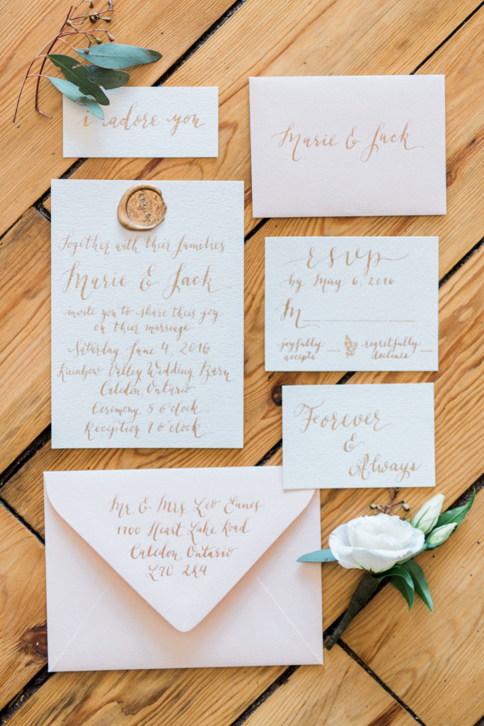 Cecile Lau Calligraphy Blush Wedding Invitation Suite