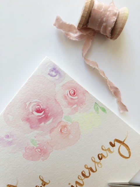 Cecile Lau Calligraphy - Watercolour florals & silk ribbon