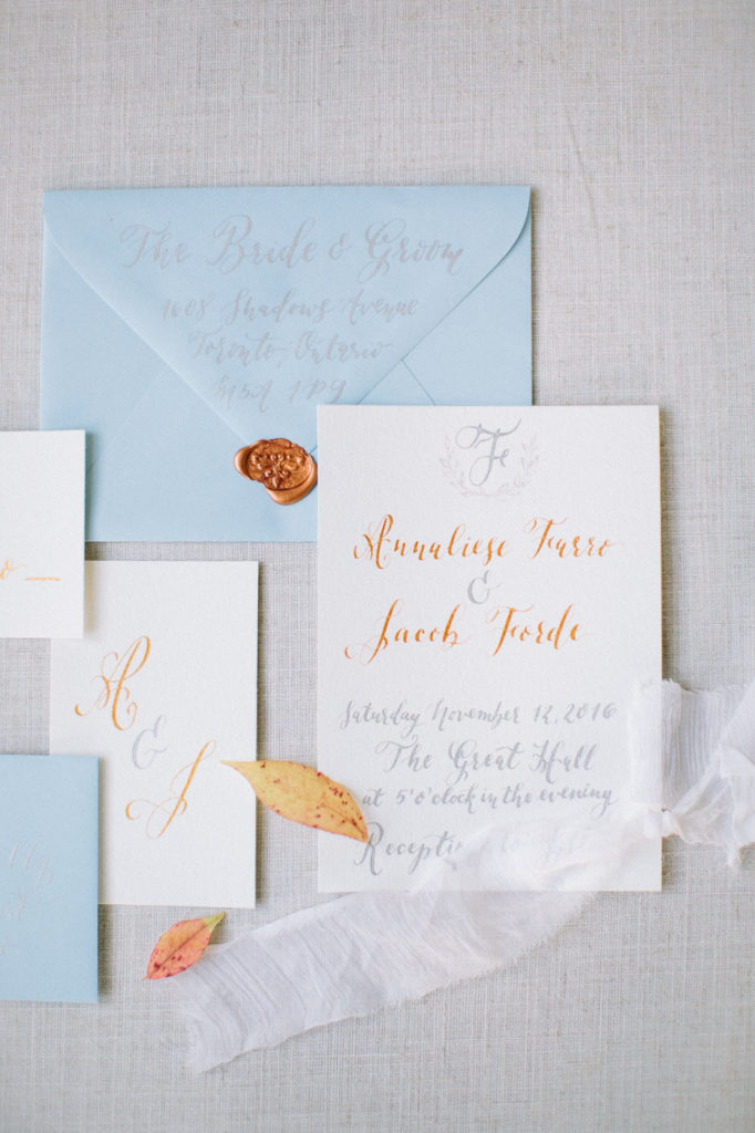 Cecile Lau Calligraphy Wedding Invitation Suite Copper & Silver