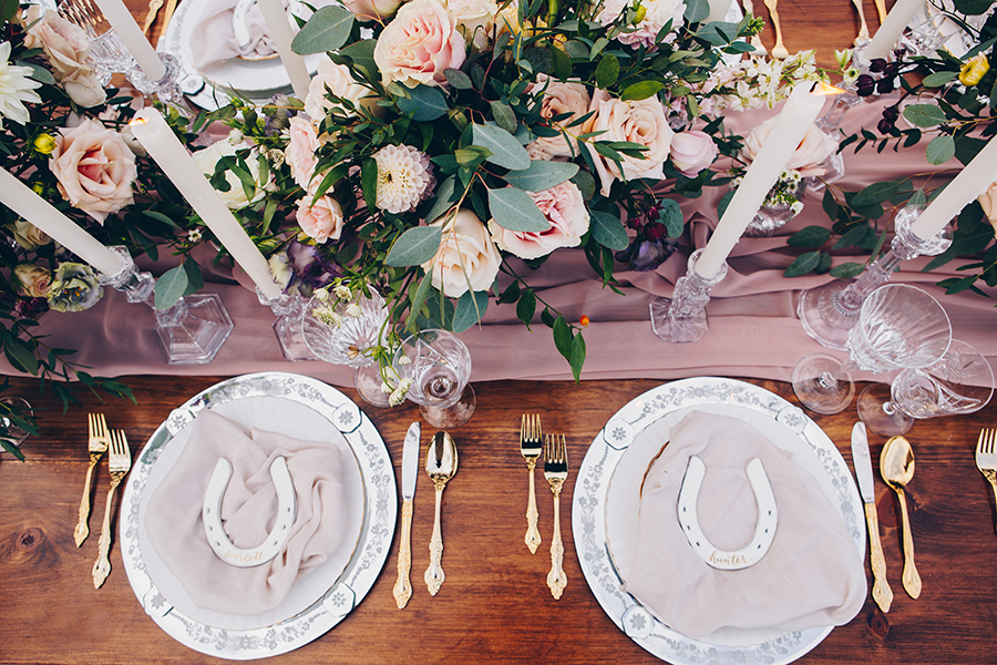 Cecile Lau Calligraphy - Hand lettered horseshoe place settings