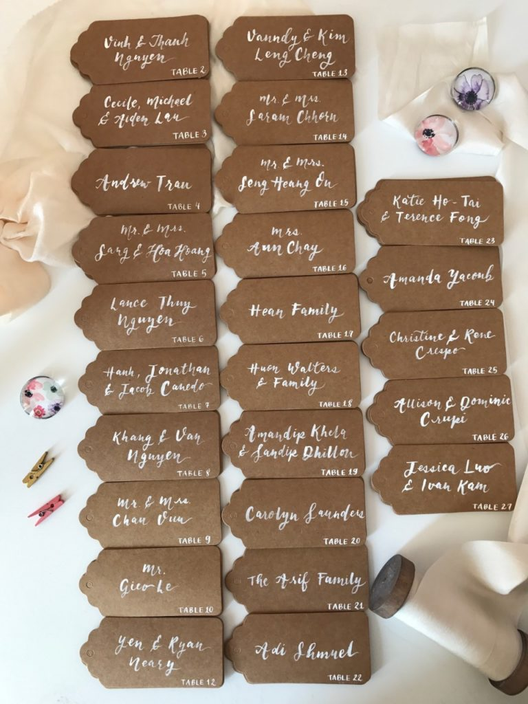 Cecile Lau Calligraphy - Kraft place cards & brush lettering