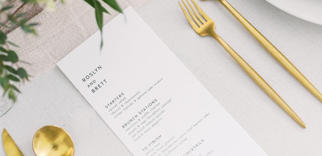 Calligraphy, minimal wedding menu, gold utensils